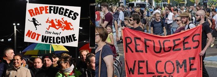 German protesters - Muslim Immigrants