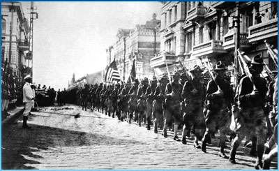 US Troops march with Japanese Marines at attention, Vladivostok, August, 1918
