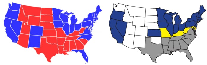 Red & Blue + Blue & Grey States
