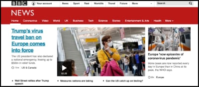 BBC Website Home Page