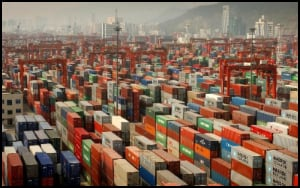 Stacked Ship Containers