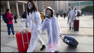 People in protective suites