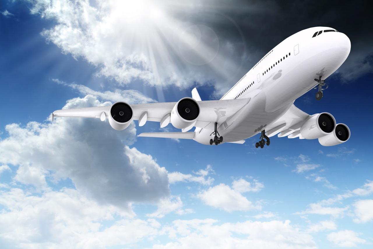 Passenger Jet in Blue Sky