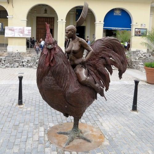 Statue Woman Riding Chicken