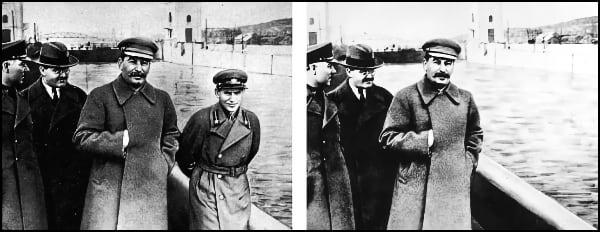 Nikolai Yezhov removed from photo of Stalin